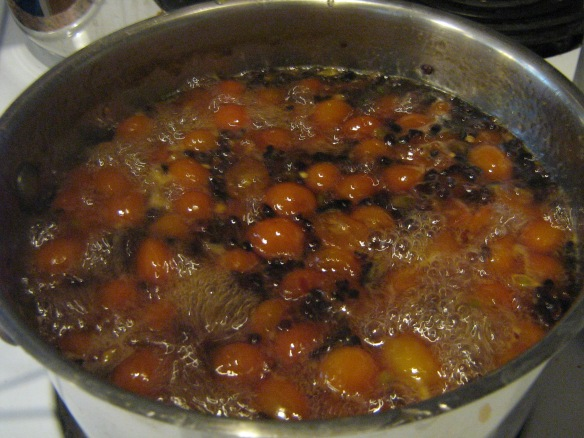Kumquats with cocoa nibs and chili pepper, nearly at the canning stage